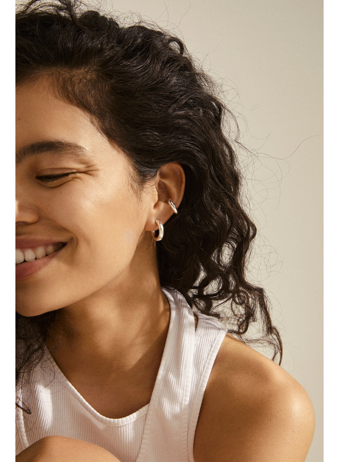 RECONNECT CHUNKY HOOPS AND EAR CUFFS 3-IN-1 SILVER