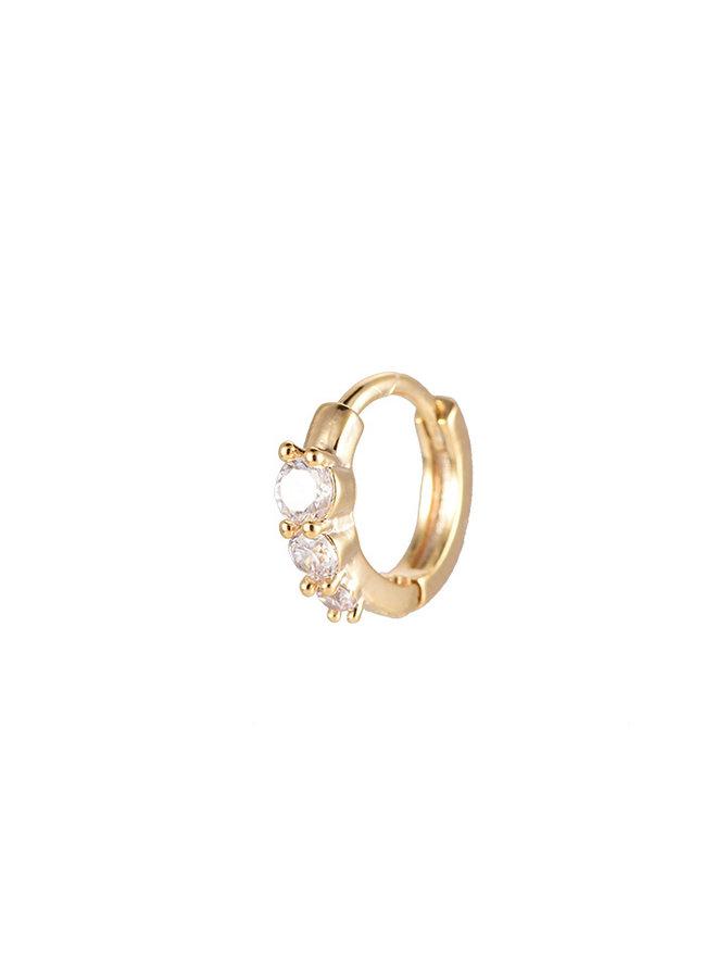 TRIPLE DIAMOND HOOP EARRING