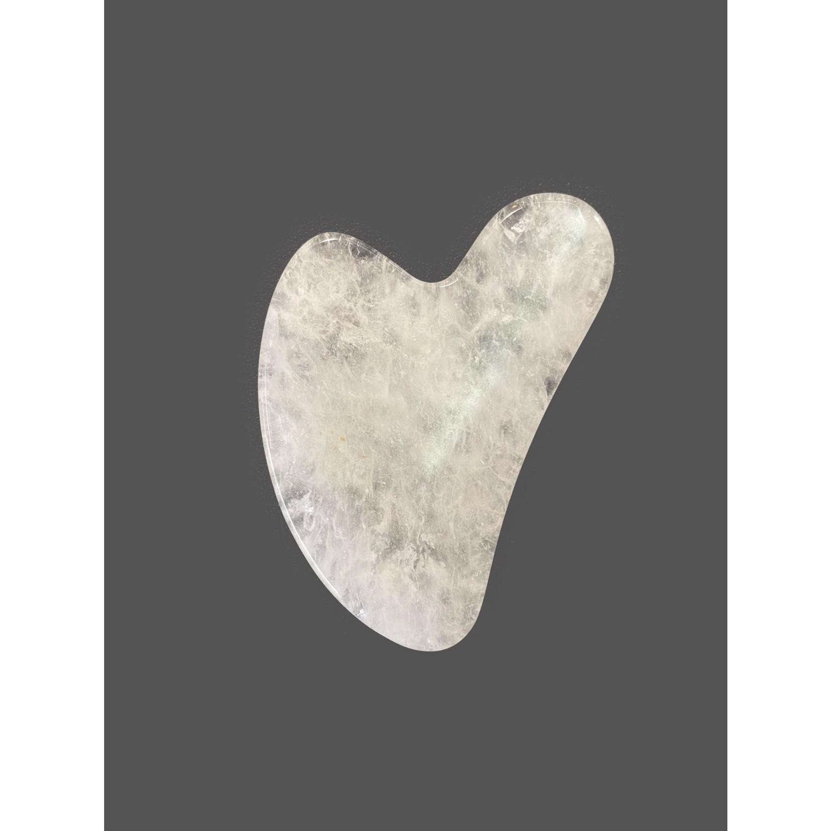 Piedra de masajes de cuarzo claro gua sha 8 cm