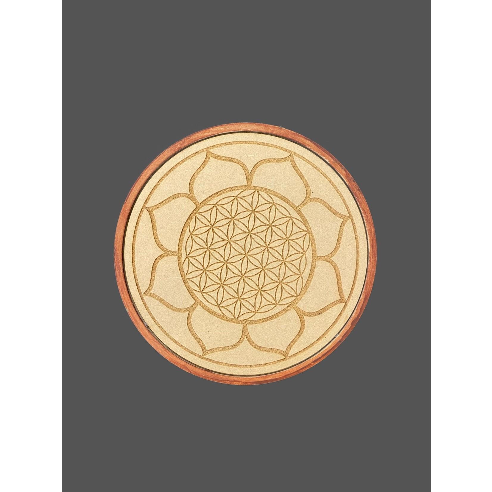 Cargador de Madera para Minerales. Flor de Loto