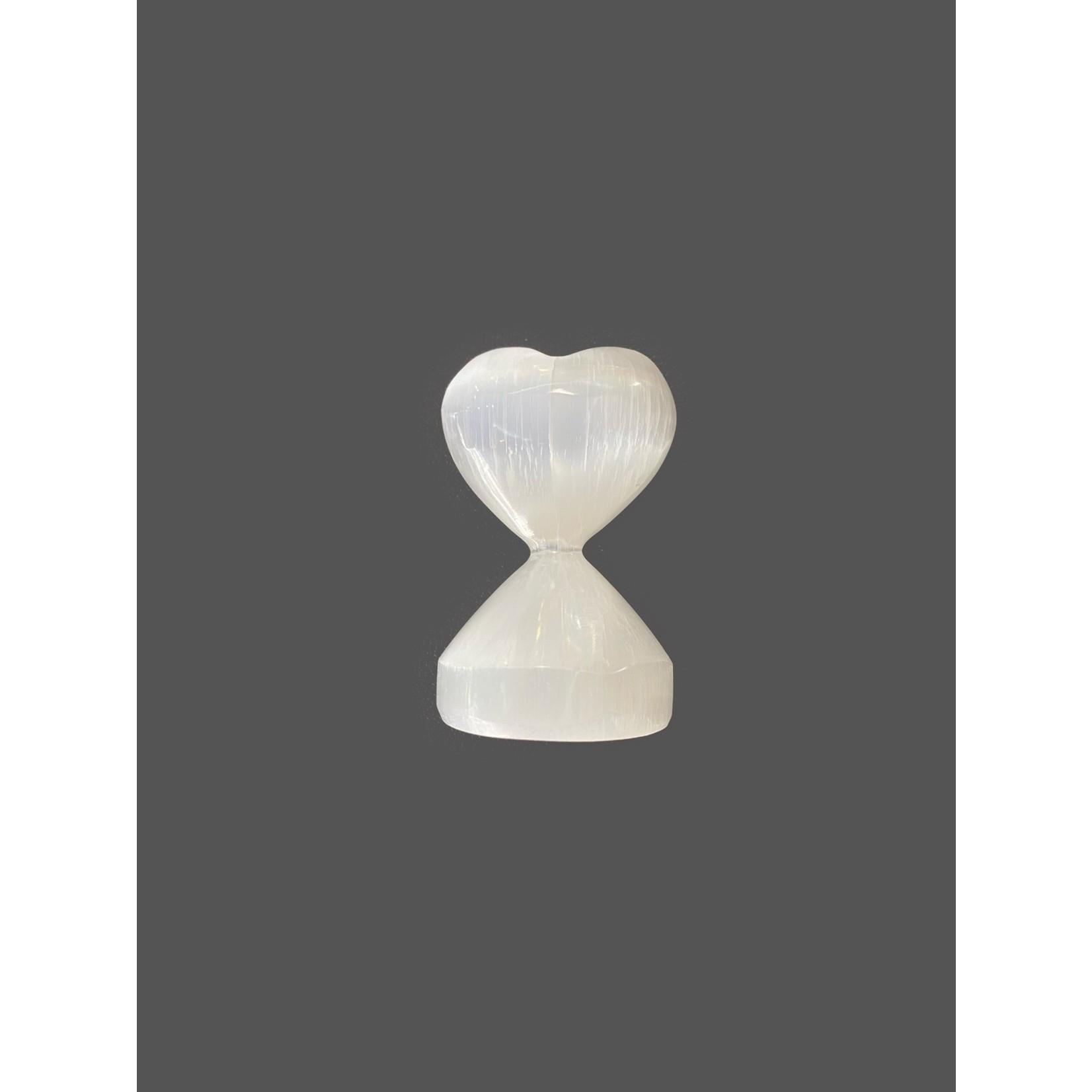 Corazón con base selenita 6 x 3 cm