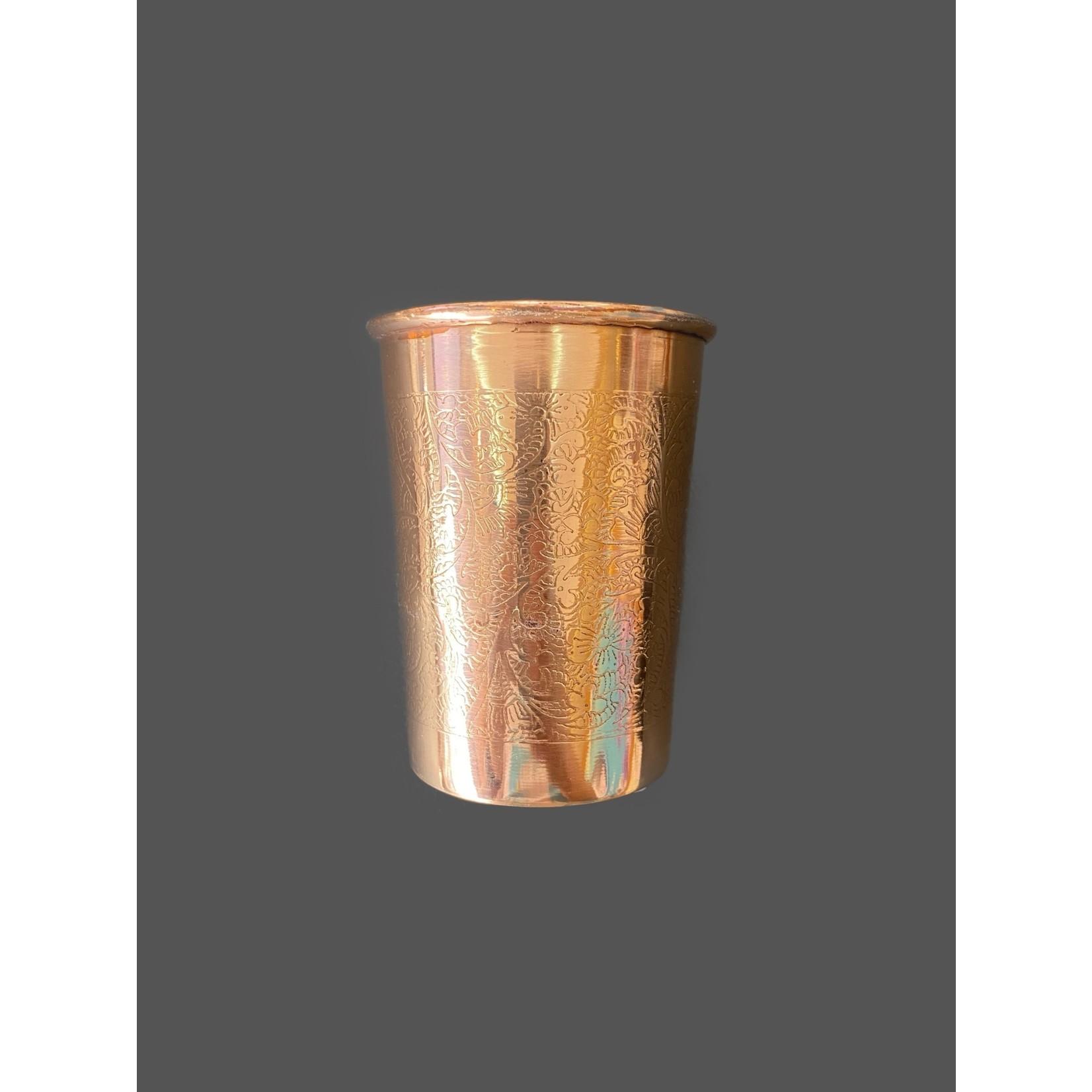 Vaso de cobre con diseño floral grabado 250 ml