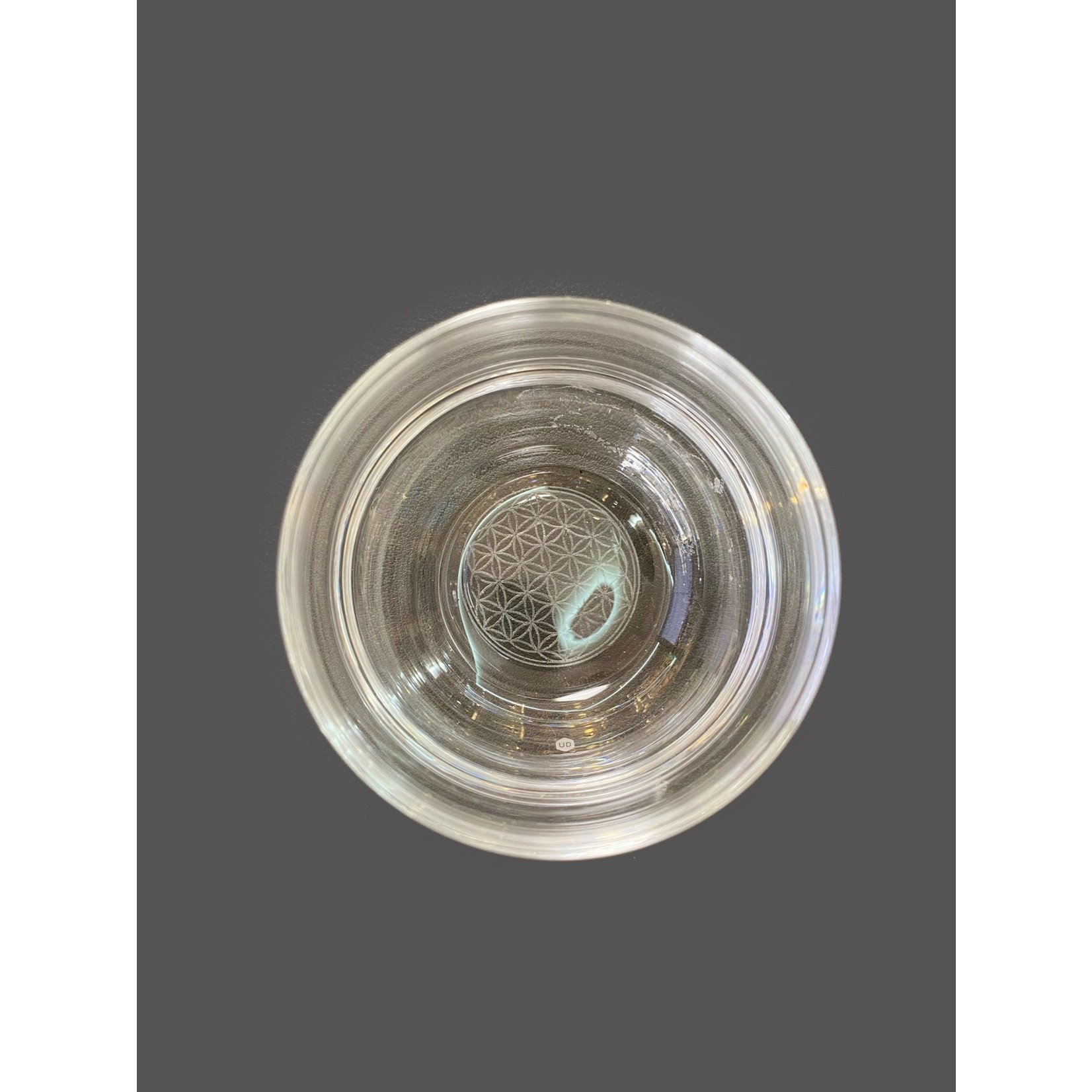 Vaso de vidrio Mythos flor de vida blanco grabado 250 ml