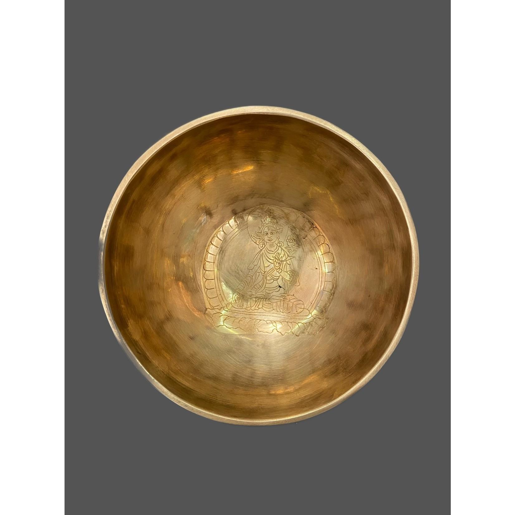 Cuenco tibetano Buda Tara blanca 400-600g; 13 cm