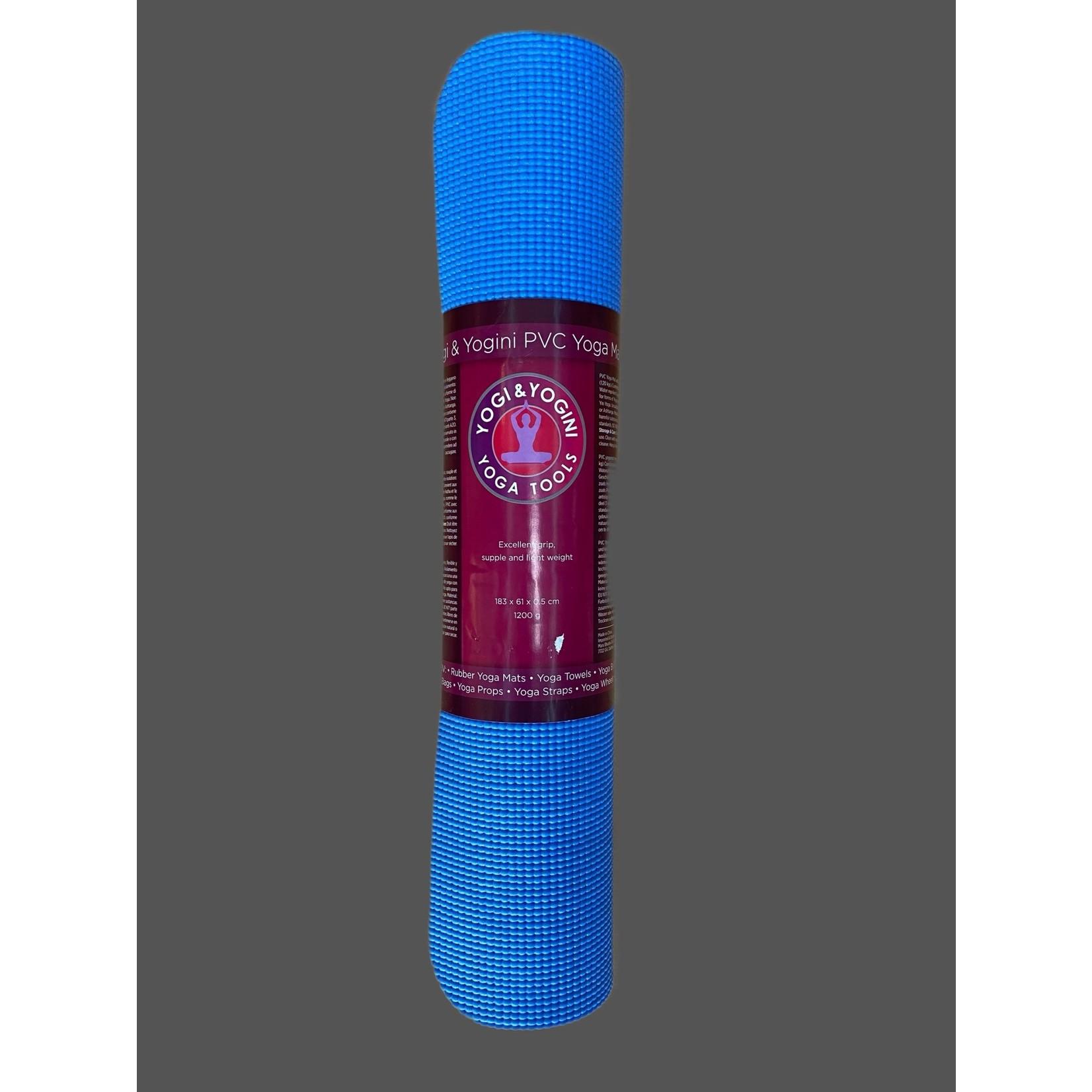 Estera de yoga PVC Yogi & Yogini azul 1200g; 61x183x0.5cm
