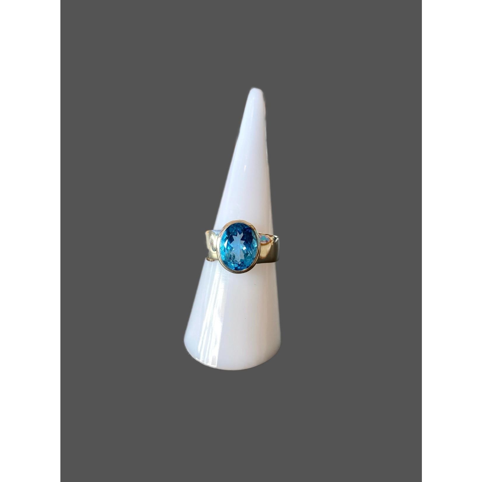Anillo Topacio azul-plata