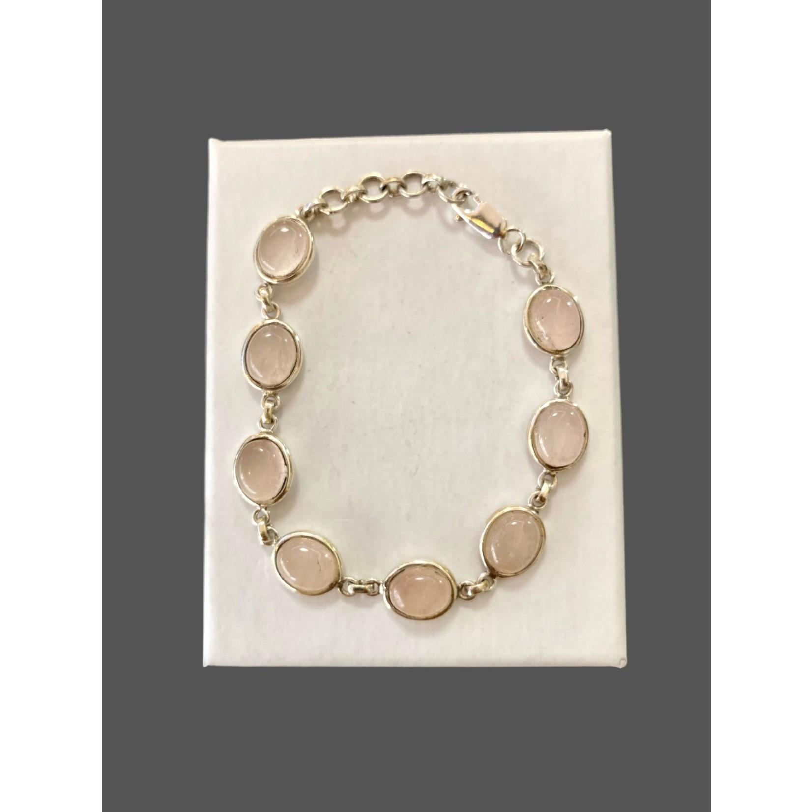 Pulsera plata-cuarzo rosa