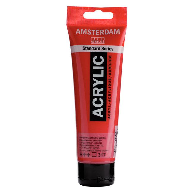 Amsterdam Acrylverf Tube 120 ml Transparantrood Middel 317