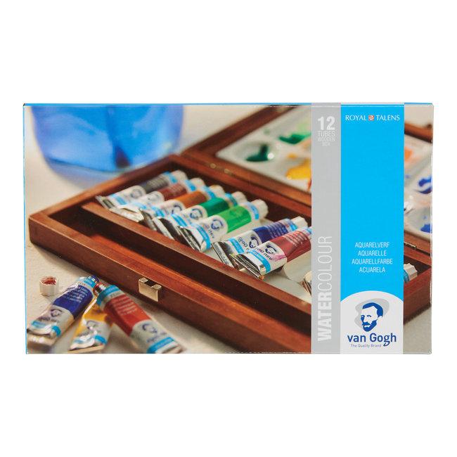 Van Gogh Aquarelverf set in kist met 12 kleuren in tubes van 10 ml + 3 accessoires