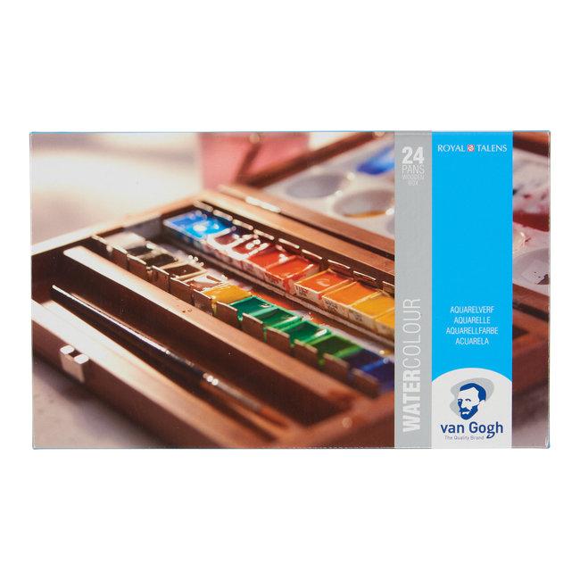 Van Gogh Aquarelverf set in kist met 24 kleuren + 3 accessoires