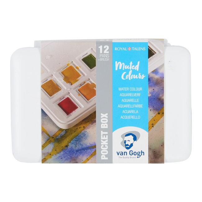 Van Gogh Aquarelverf pocket box gedempte tinten met 12 kleuren