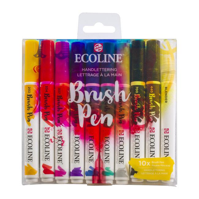 Ecoline Set van 10 Brush Pens - Handlettering