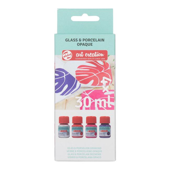 Talens Art Creation Glas & Porselein Dekkend Set 4X30 ml Roze Zilver