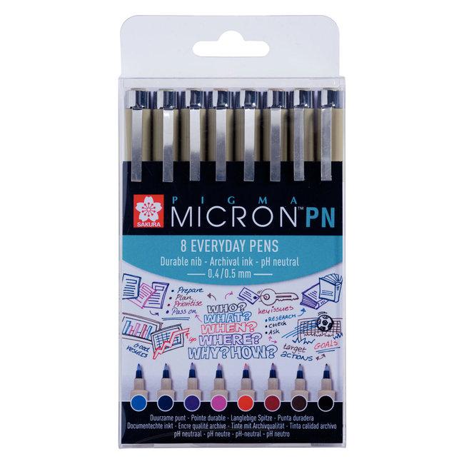 Sakura Pigma Micron PN-set 8 verschillende kleuren