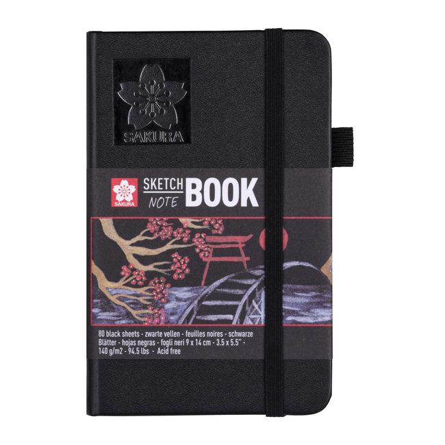Sakura schets-/notitieboek 9x14 cm, 80 pagina's zwart papier 140g