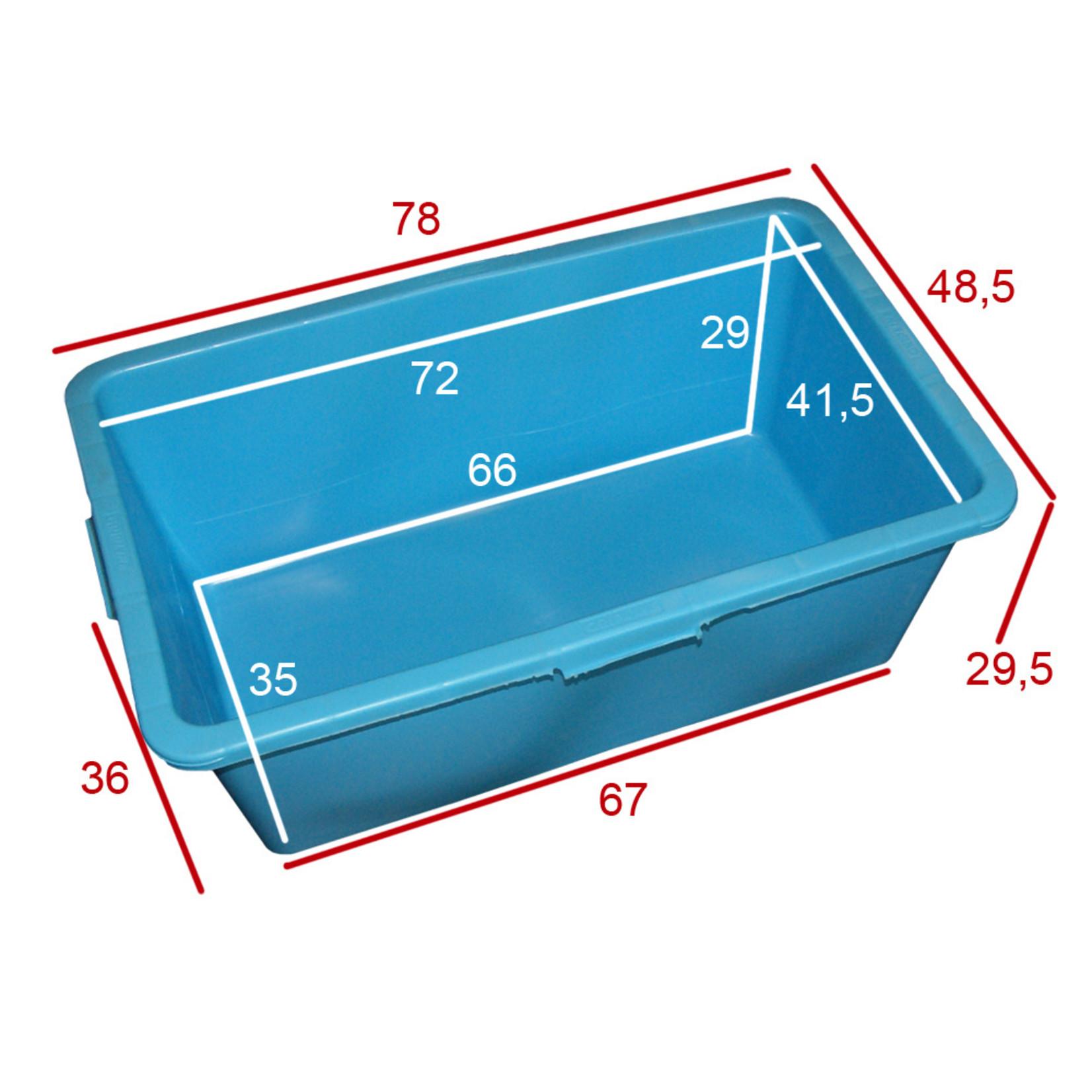Rechthoek kuip 90 liter blauw l.79 x b.48 x h.30 cm