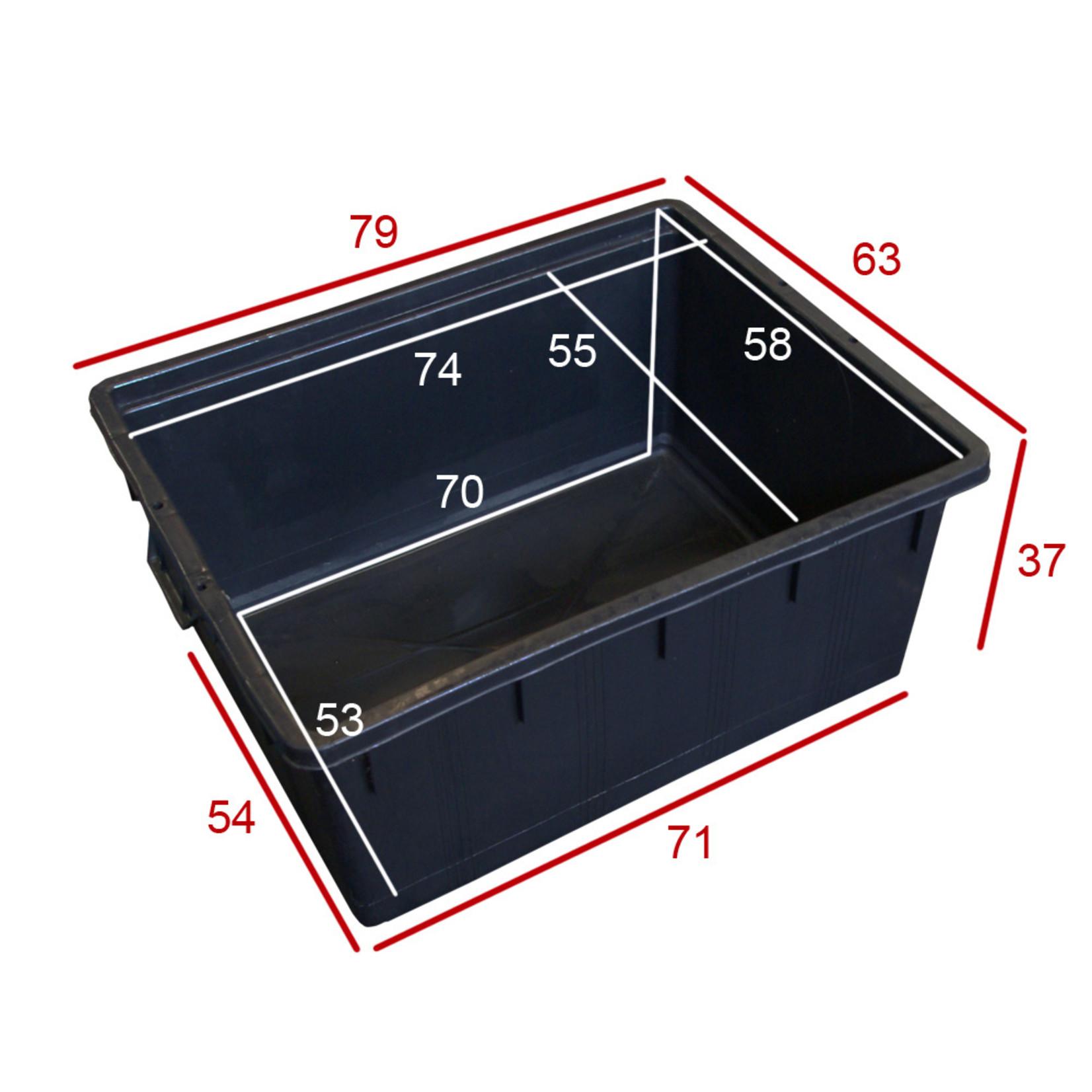 Rechthoek kuip 150 liter l.80 x b.63 x h.38 cm