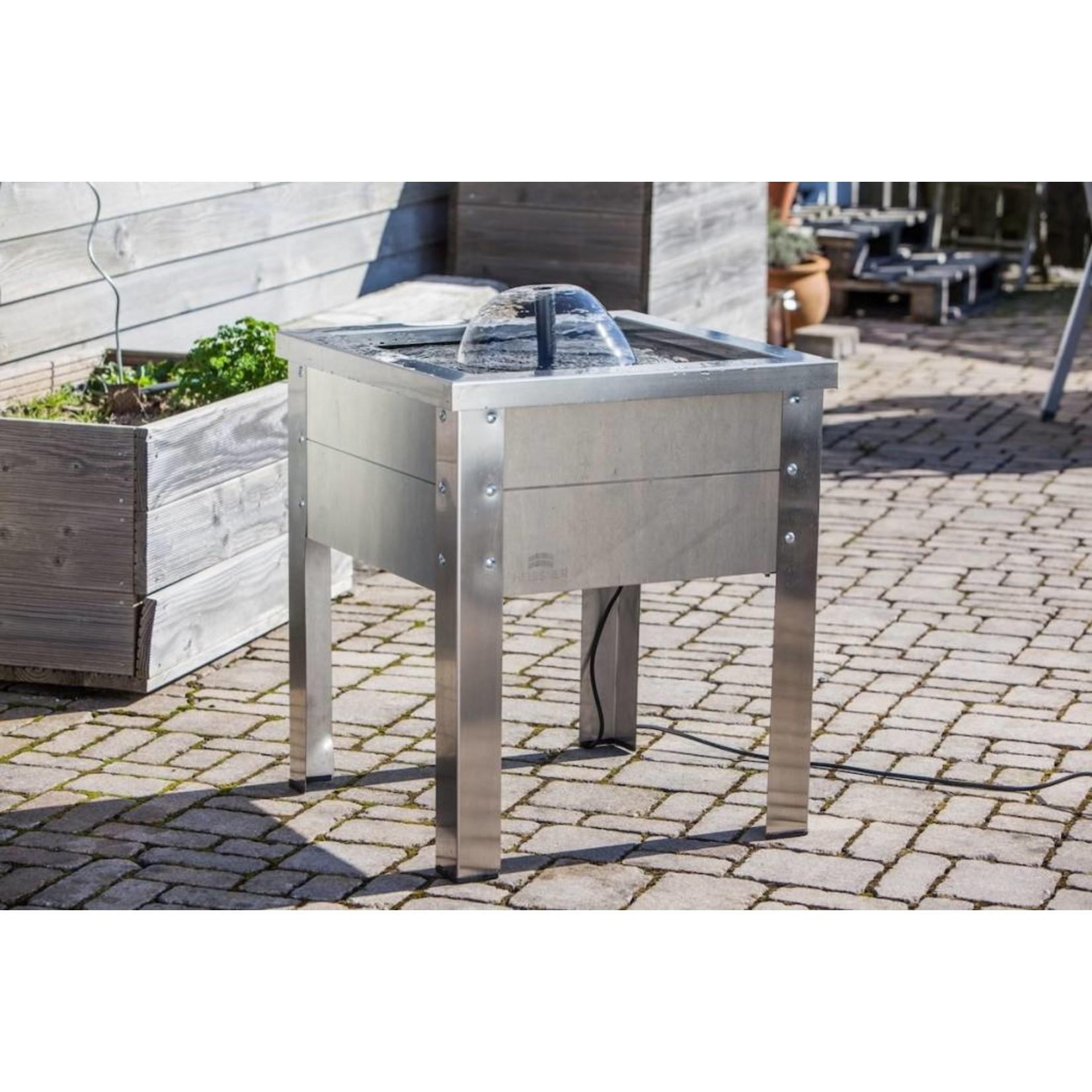 Heissner Terras fontein hout/RVS grijs