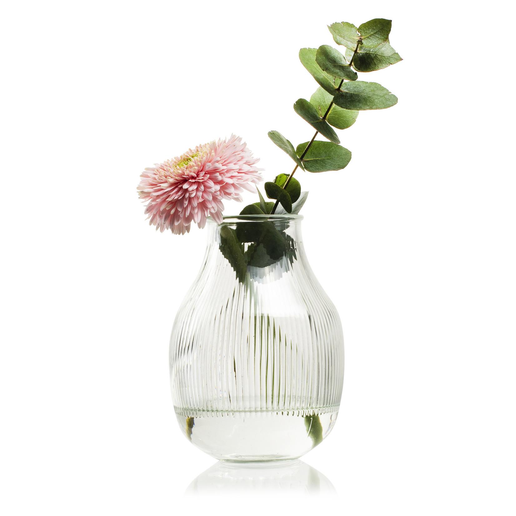 Jodeco Glass Design vaas met ribbel 'Dean' H17,5 D12,5/7 cm Transparant