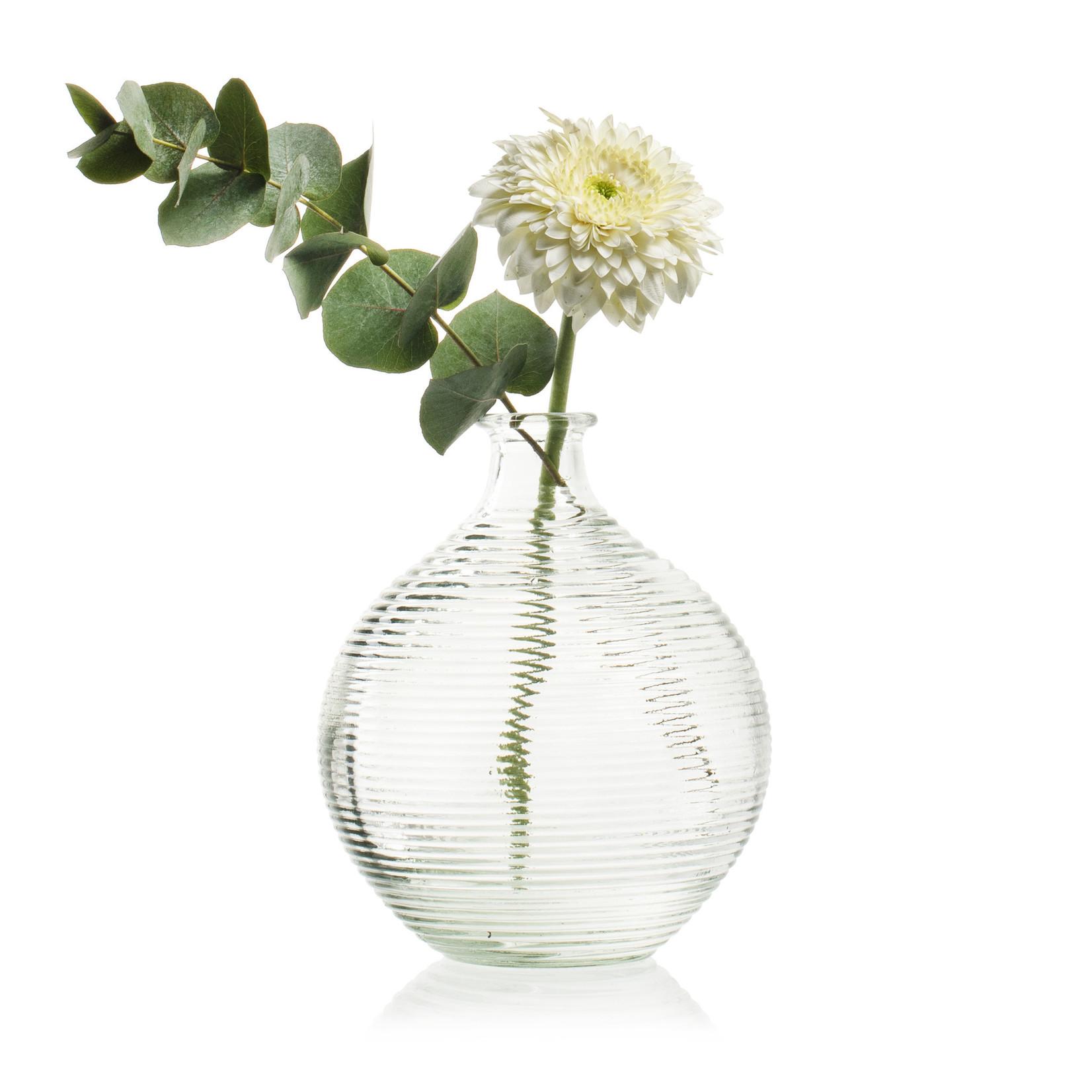 Jodeco Glass Flesvaas met ribbel 'Femke'