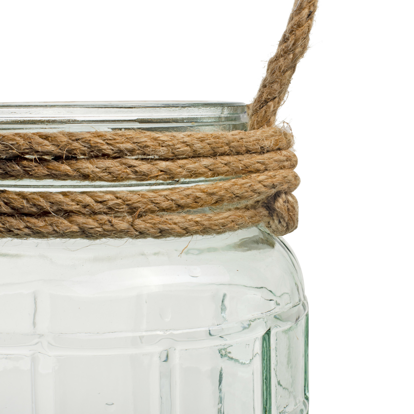 Jodeco Glass Glazen vaas met touw 'Gilbert'