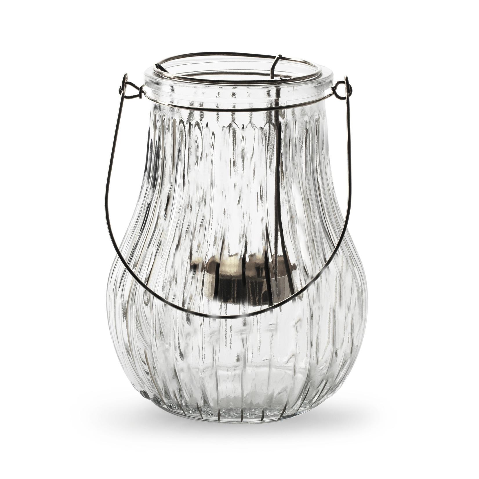 Jodeco Glass Lantaarn met houder 'Leah' H16 D12,5 cm Transparant