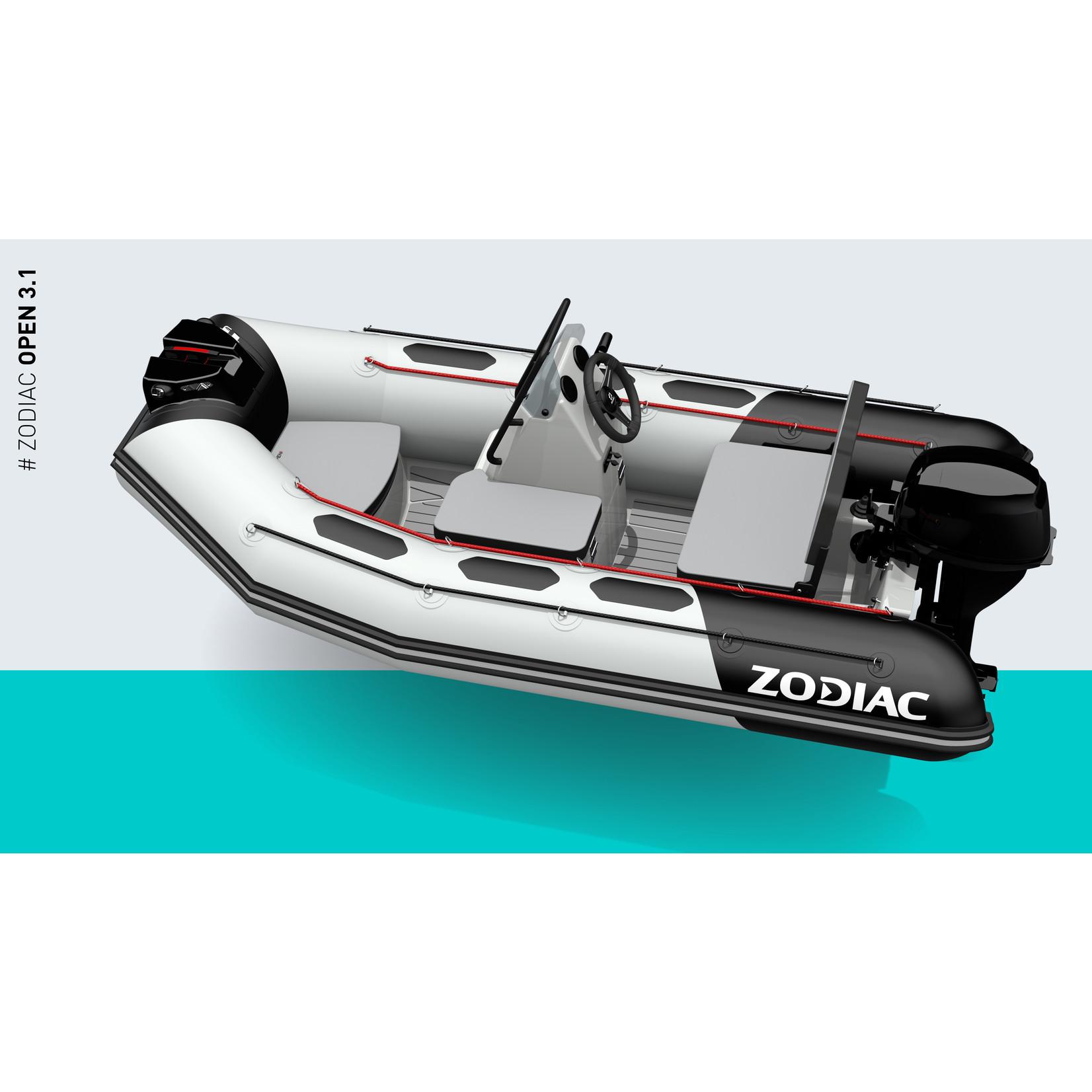 Zodiac OPEN 3.1 - PVC/Strongan drijver - romp in licht- of donkergrijs (3.10 mtr.)