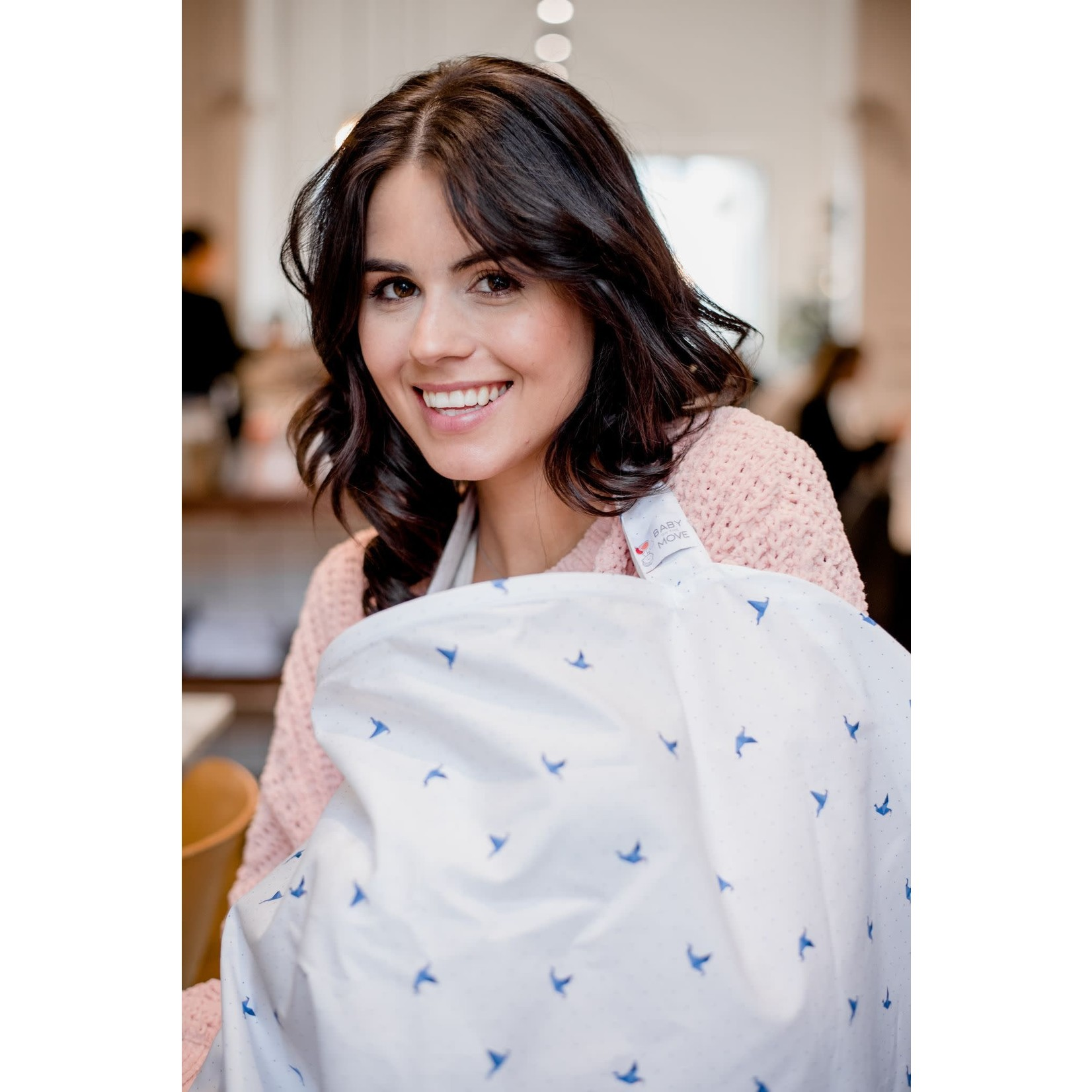 Baby on the Move Nursing Cover (Origami birds - Blue)