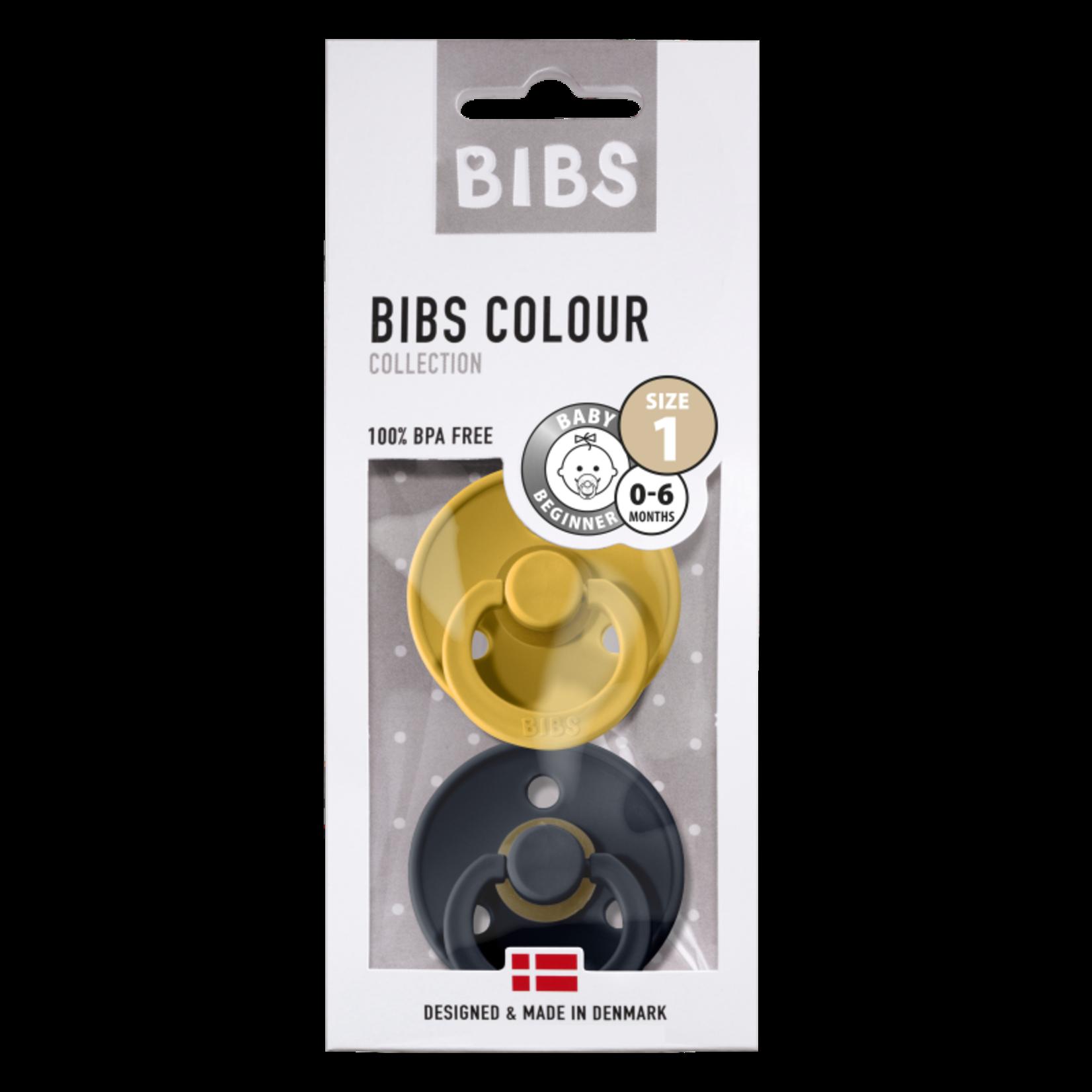 BIBS Fopspeen natuurrubber Mustard/Dark denim