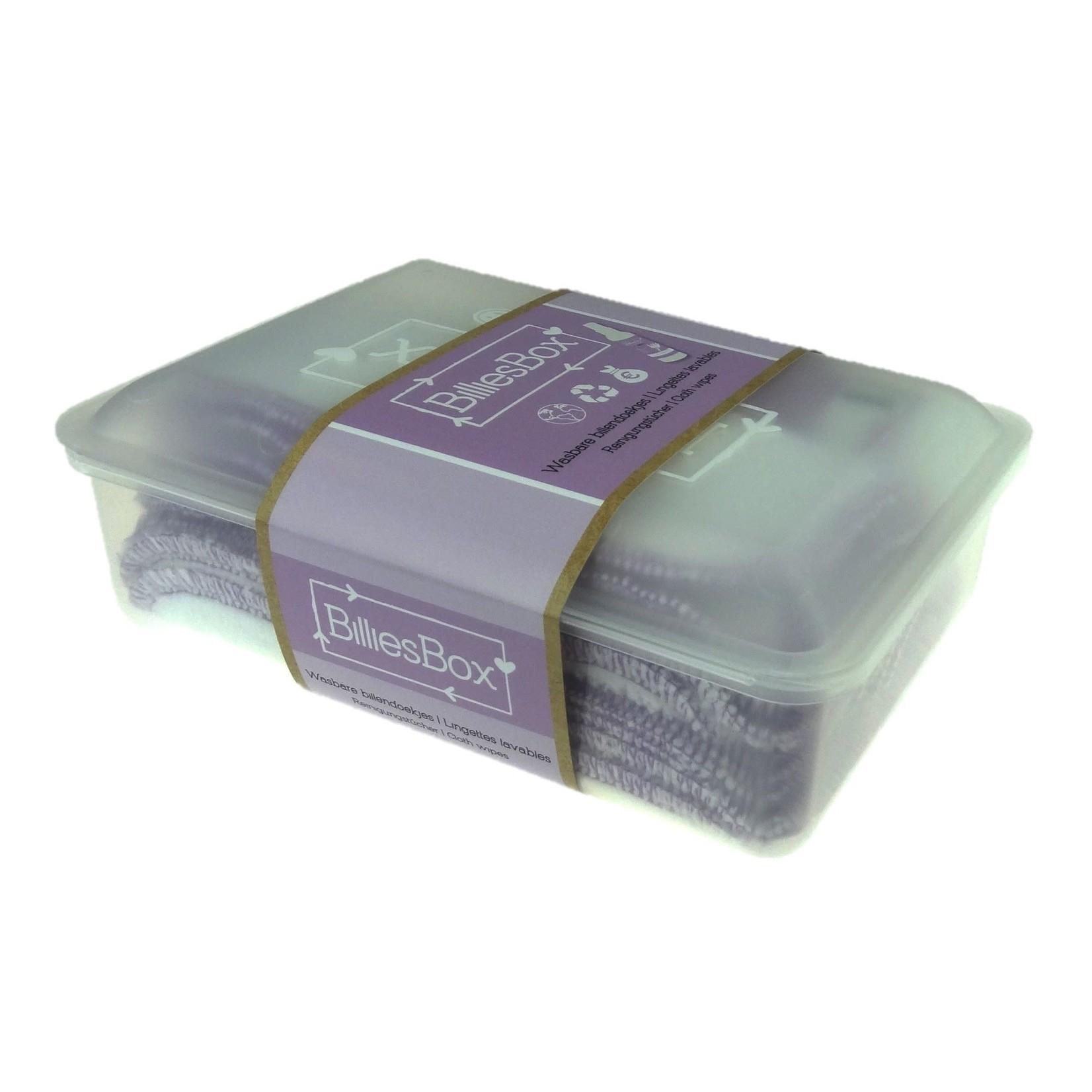 BilliesBox Wasbare doekjes met doos (Wit-Lavendel)