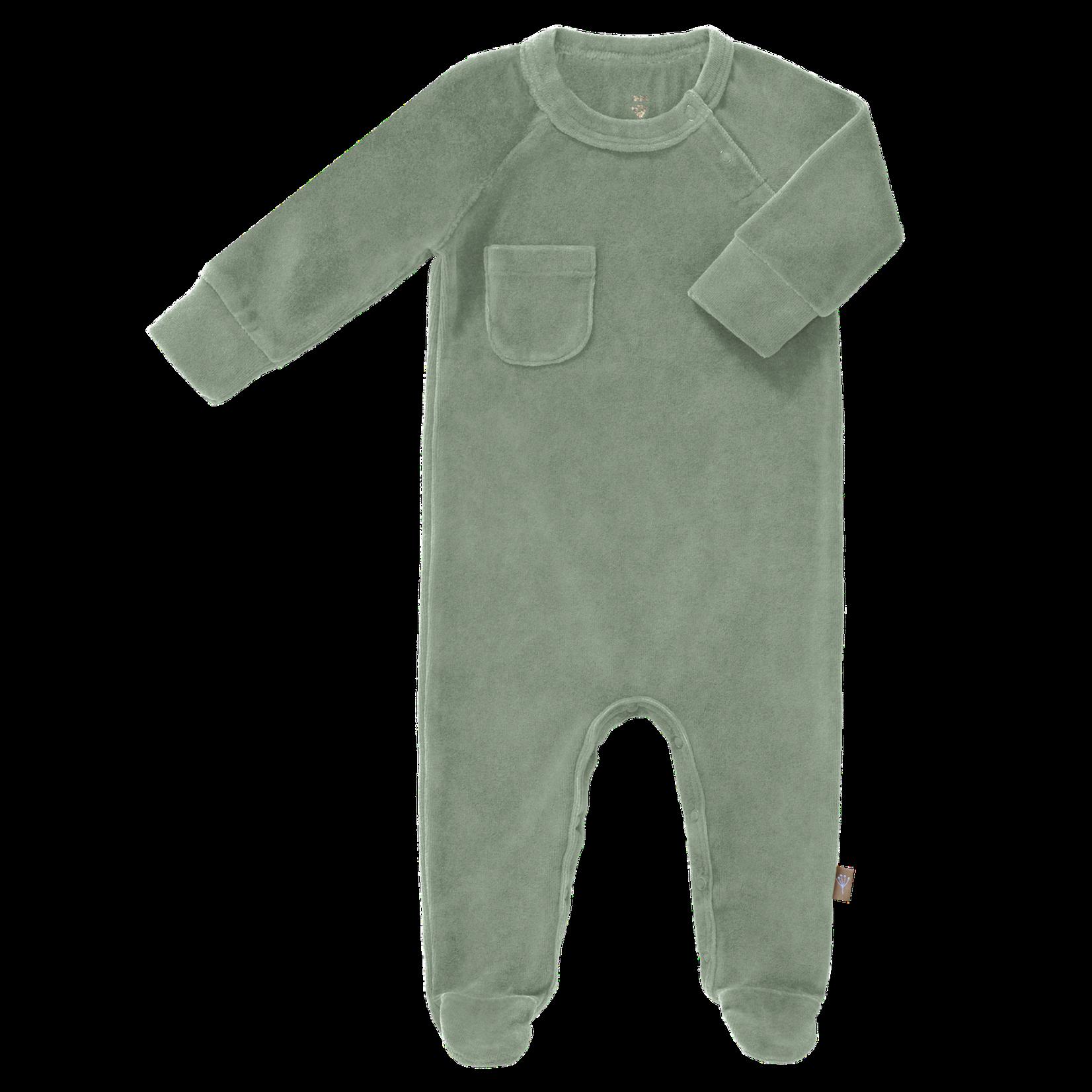 Fresk Pyjama velours met voet (Forest green)