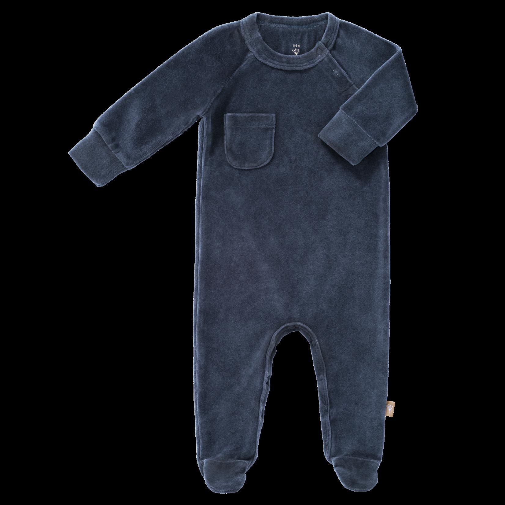 Fresk Pyjama velours met voet (Indigo)