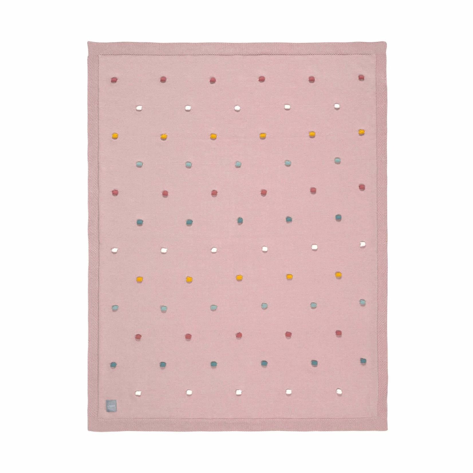 Lässig Gebreid deken Dots (dusky pink)