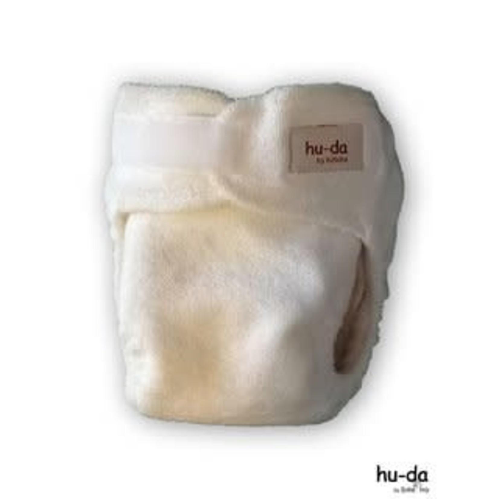 Hu-Da Newborn luier 2.0 bamboe VELCRO (wit)