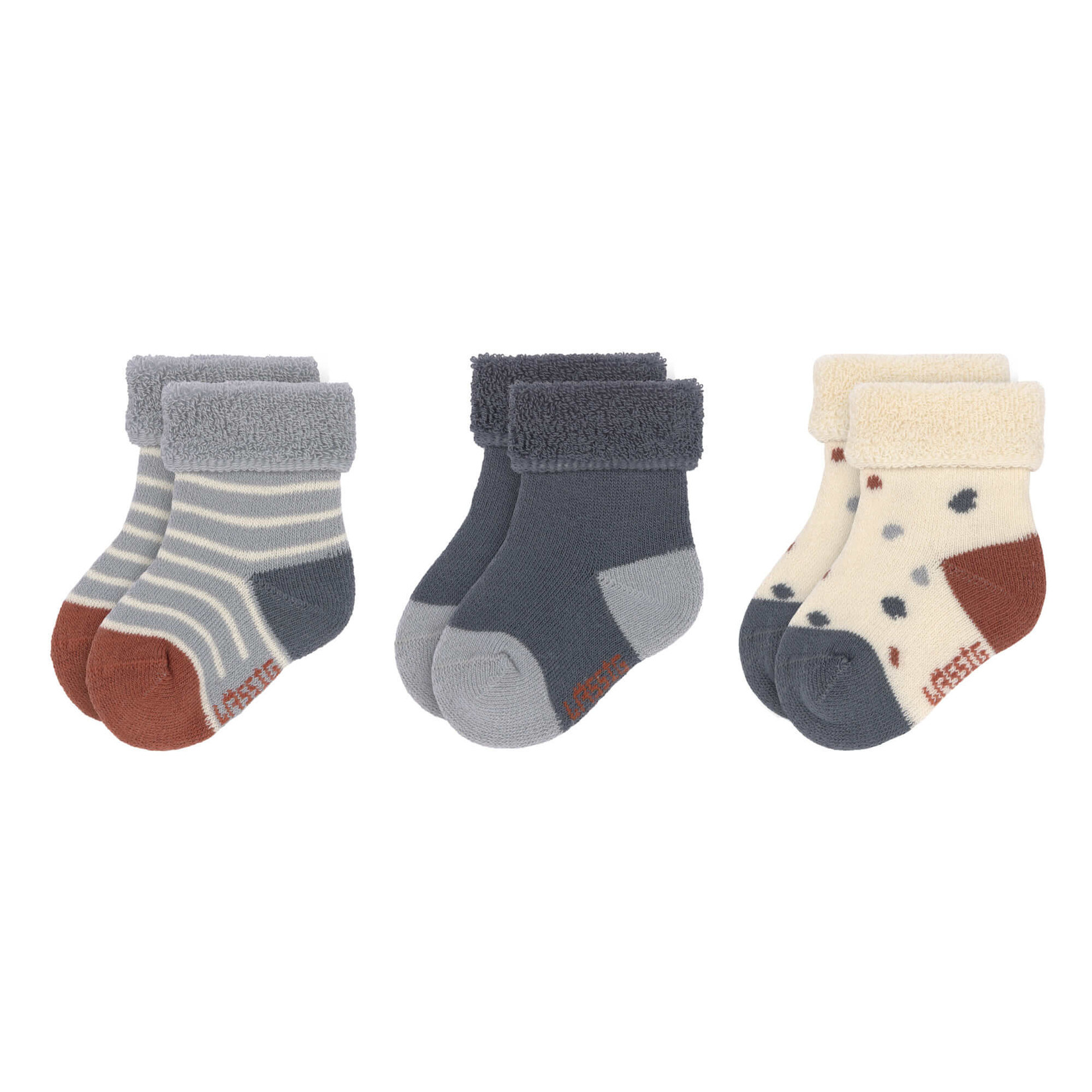 Lässig 3 paar newborn sokken Tiny Farmer (Blauw)