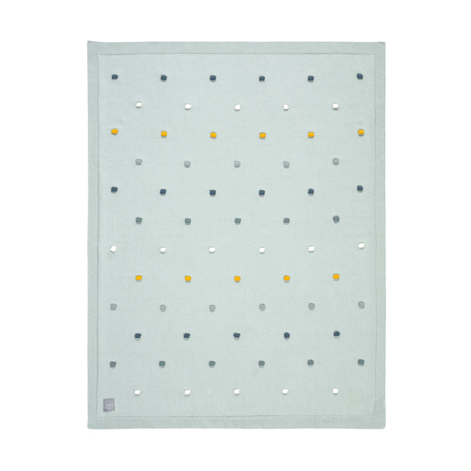 Lässig Gebreid deken Dots (Light mint)