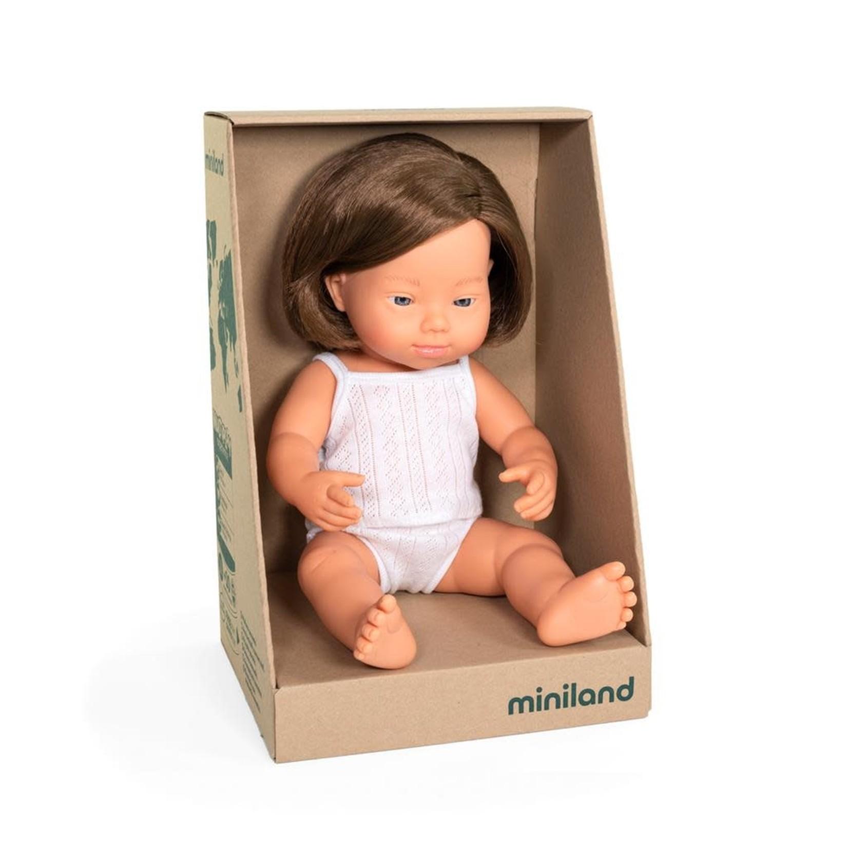 Miniland Pop Europees meisje met syndroom van down (38cm)