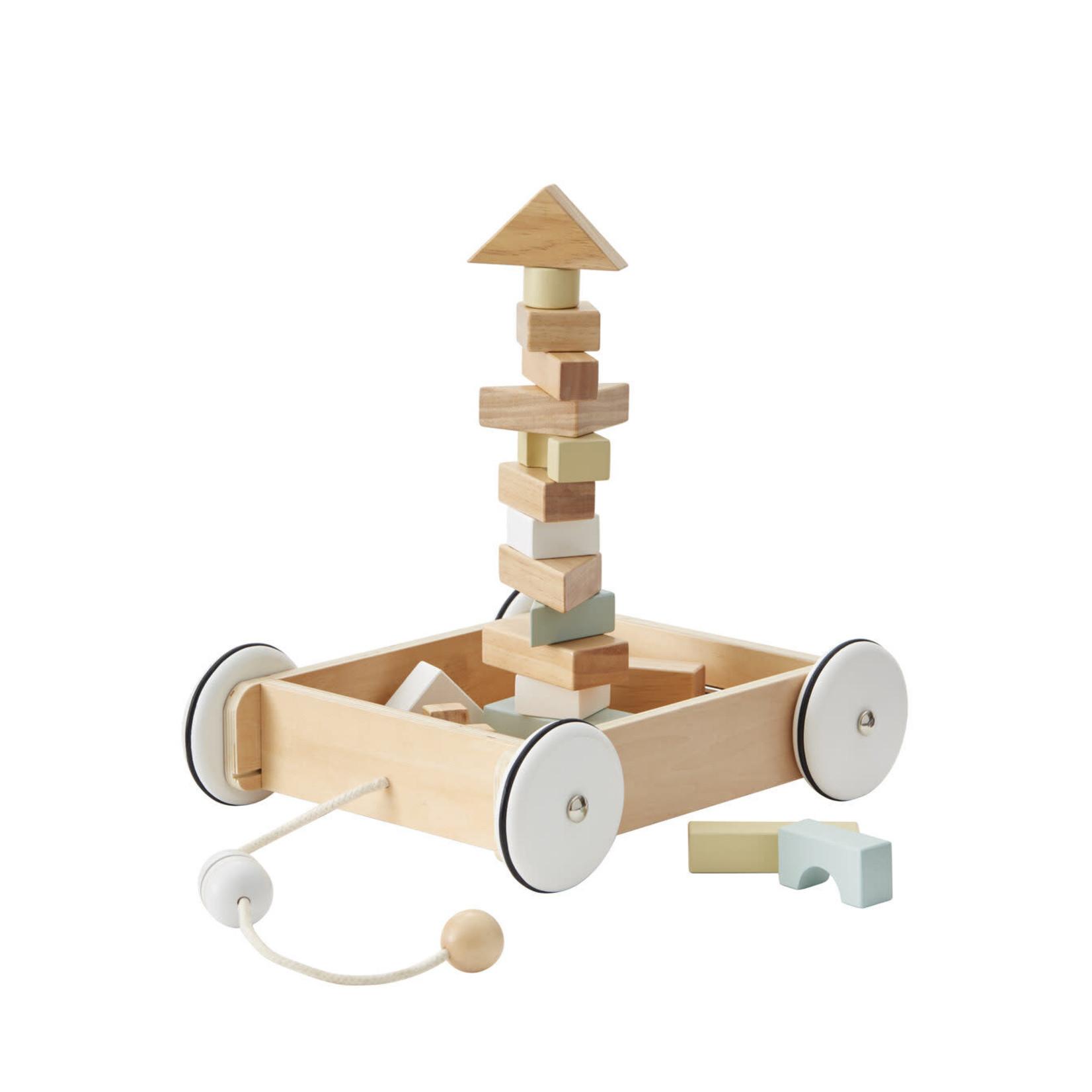 Kid's Concept Trekwagentje met houten blokken