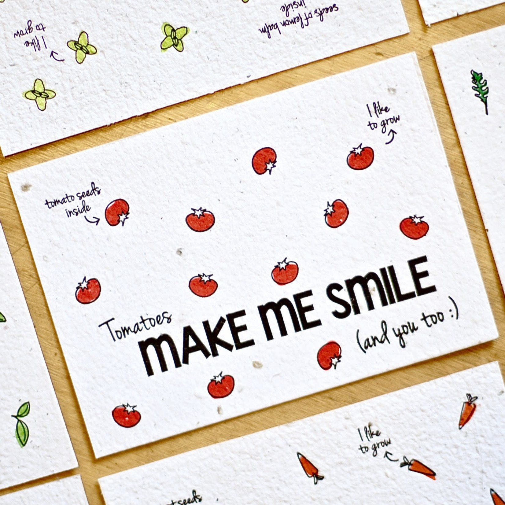 "BLOOM Your Message Bloeikaart ""Tomatoes make me smile"""