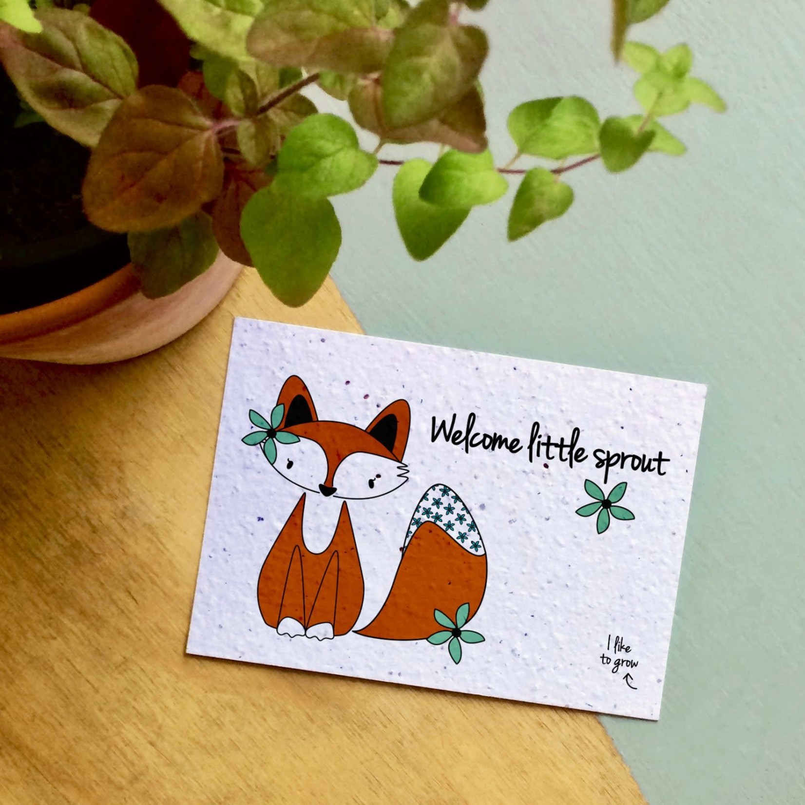 """BLOOM Your Message Bloeikaart Fox """"Welcome Little Sprout"""""""