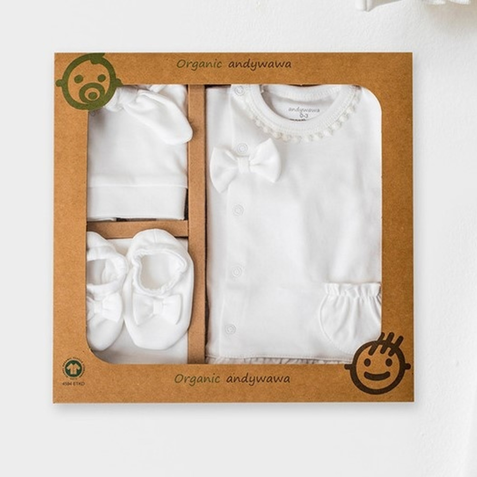 Babymeisjes Biologische Newborn Set Natura Wawa Ecru