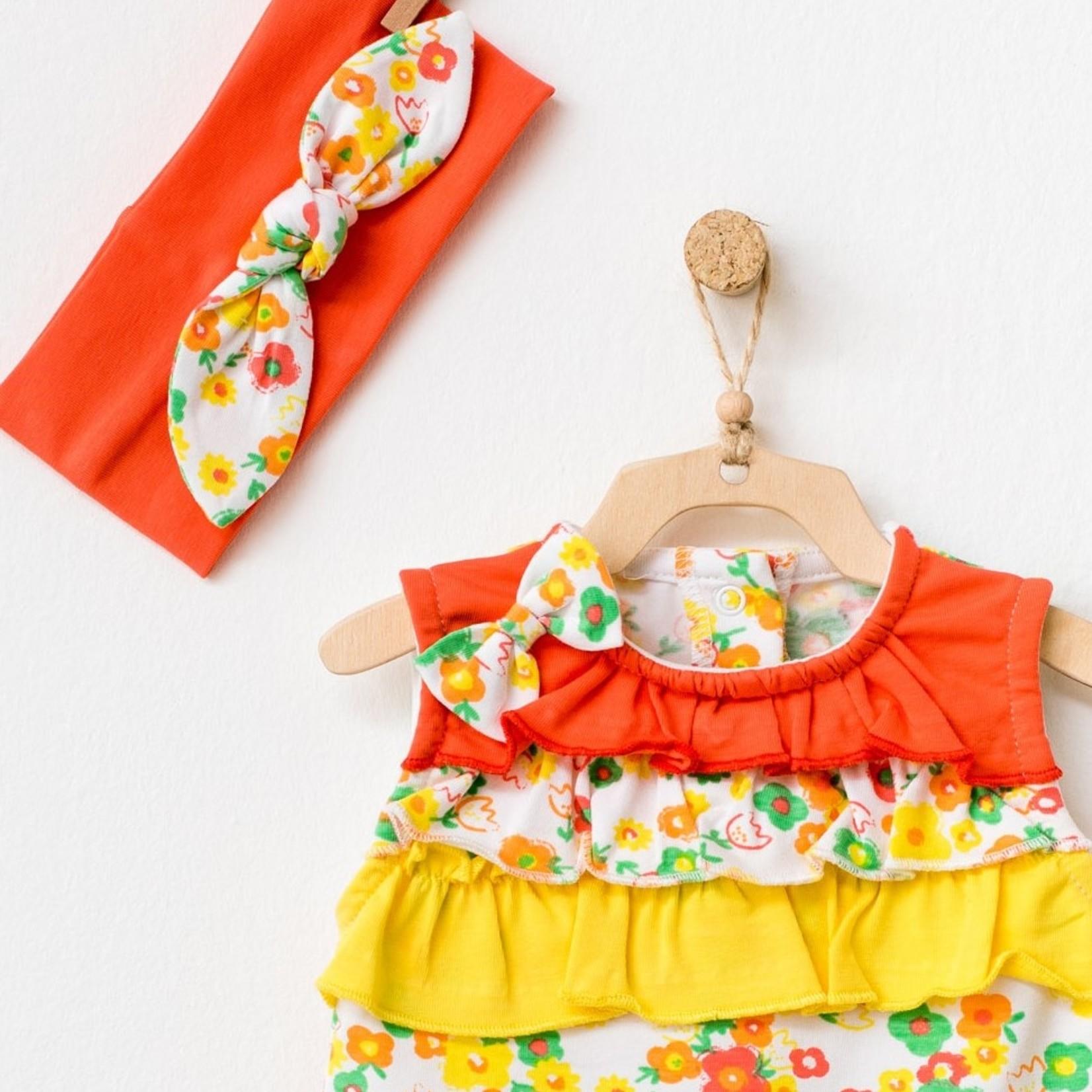 Babymeisjes Zomers Pakje en Haarband Bloemetjes