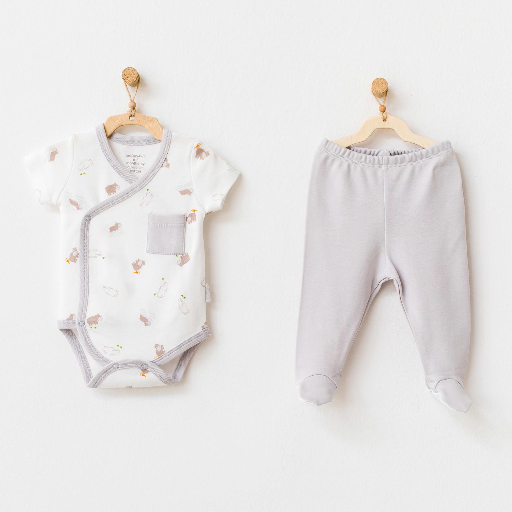 Newborn Rompertje en Broekje Set Hippo