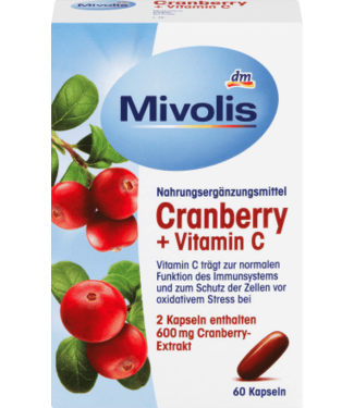 Mivolis Mivolis Cranberry + Vitamine C-capsules 60 stuks
