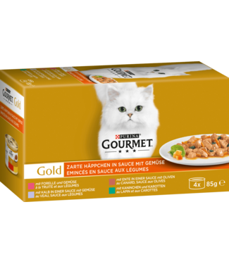 PURINA PURINA Gourmet Gold Blik 4-Pack Rund Kalkoen Eend Kip