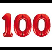 Folieballon 100 jaar rood 86cm