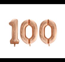 Folieballon 100 jaar Rosé Goud 86cm