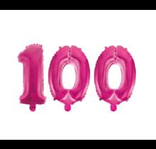 Folieballon 100 jaar roze 41cm