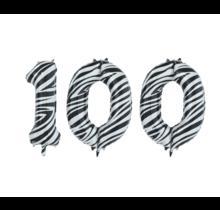 Folieballon 100 jaar zebra 86cm
