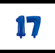 Folieballon 17 jaar blauw 86cm